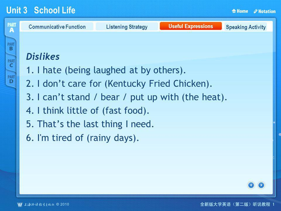 Unit 3 School Life PartA_3 Dislikes 1. I hate (being laughed at by others). 2. I dont care for (Kentucky Fried Chicken). 3. I cant stand / bear / put