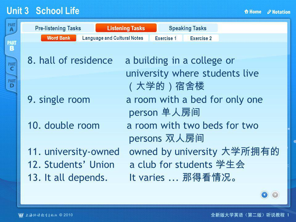 Unit 3 School Life PartB_2 8. hall of residence a building in a college or university where students live 9. single room a room with a bed for only on