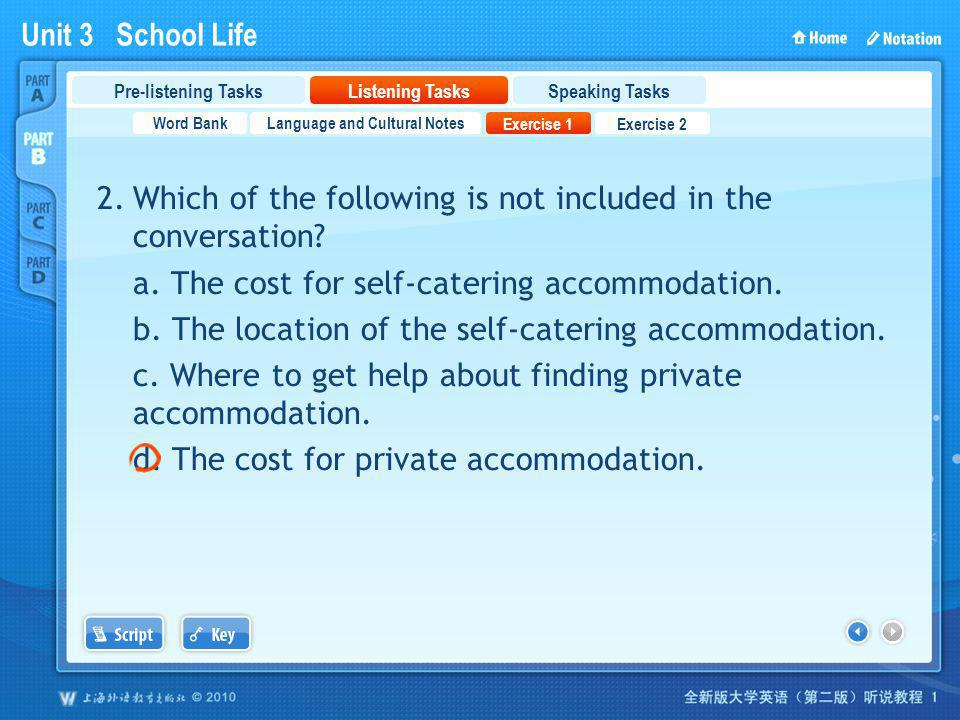 Unit 3 School Life PartB_2_3 2.Which of the following is not included in the conversation.