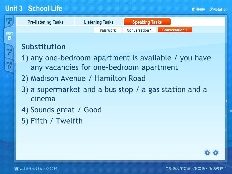 Unit 3 School Life PartB_3_b Substitution 1) any one-bedroom apartment is available / you have any vacancies for one-bedroom apartment 2) Madison Aven