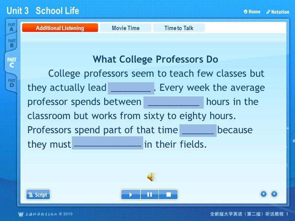Unit 3 School Life PartC_1 What College Professors Do College professors seem to teach few classes but they actually lead busy lives. Every week the a