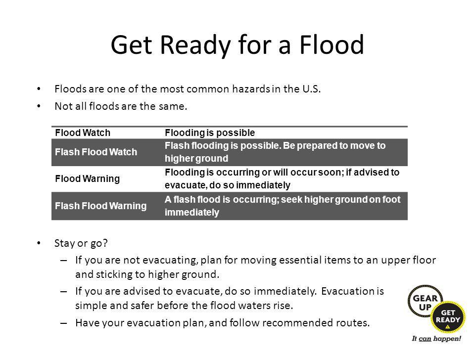 Get Ready for a Flood Floods are one of the most common hazards in the U.S.