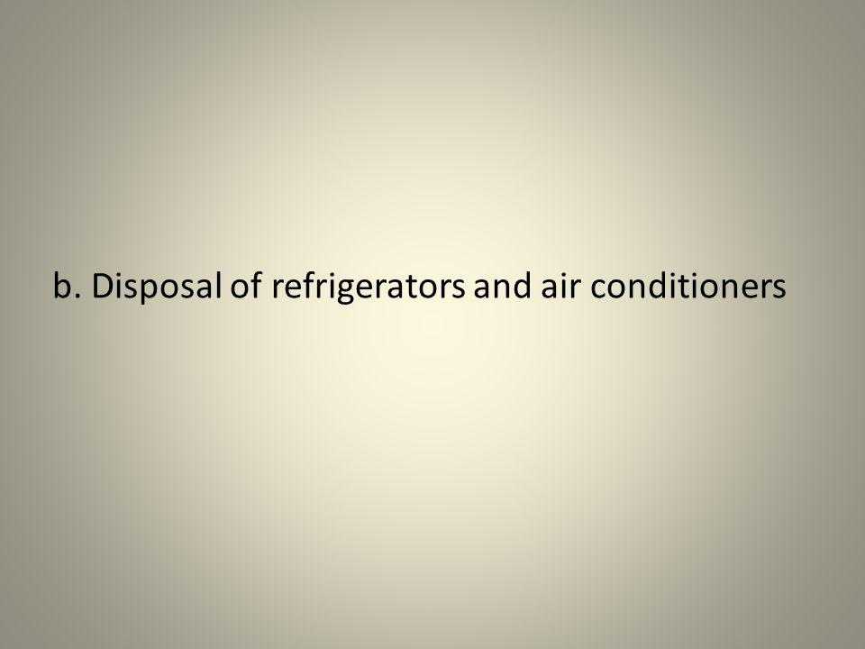 b. Disposal of refrigerators and air conditioners
