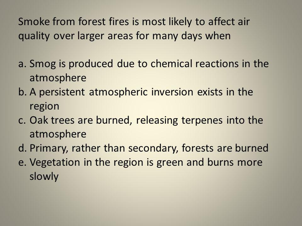 Smoke from forest fires is most likely to affect air quality over larger areas for many days when a.Smog is produced due to chemical reactions in the
