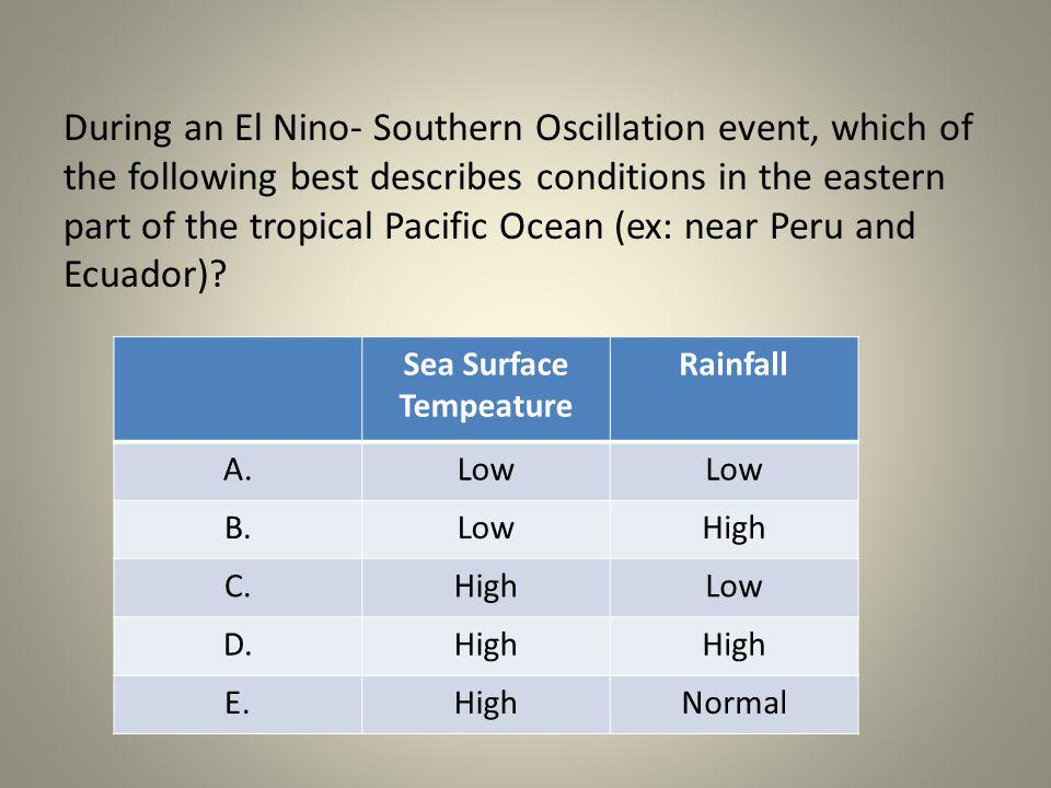 During an El Nino- Southern Oscillation event, which of the following best describes conditions in the eastern part of the tropical Pacific Ocean (ex: