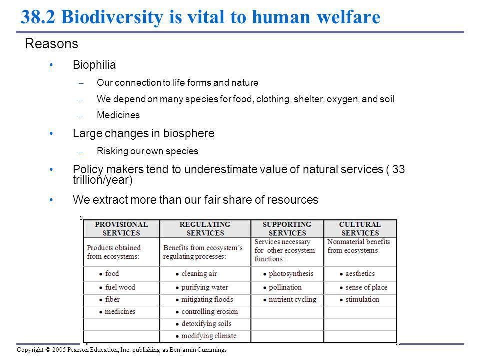 Copyright © 2005 Pearson Education, Inc. publishing as Benjamin Cummings 38.2 Biodiversity is vital to human welfare Reasons Biophilia – Our connectio