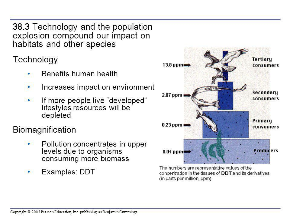 Copyright © 2005 Pearson Education, Inc. publishing as Benjamin Cummings 38.3 Technology and the population explosion compound our impact on habitats