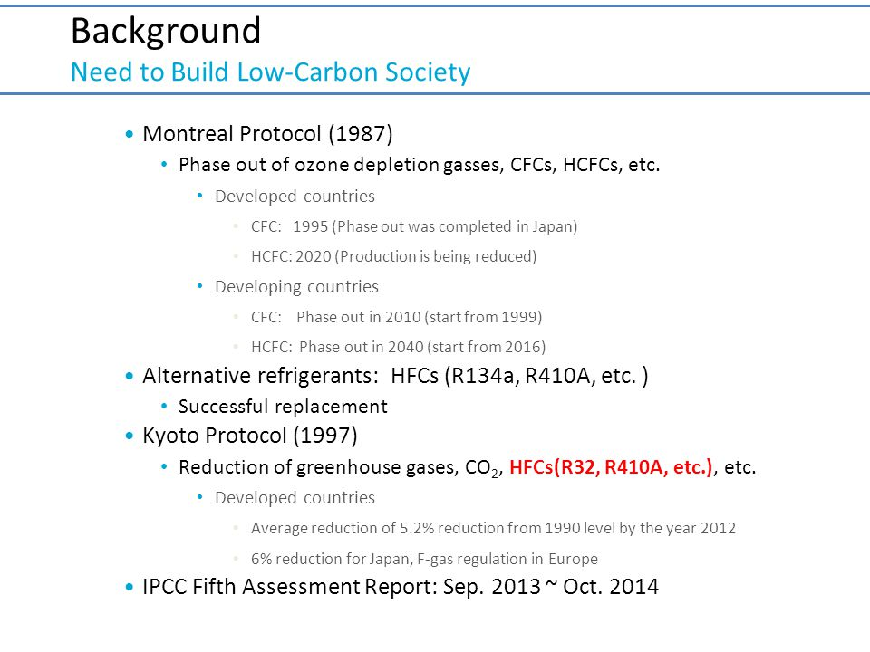 Background Need to Build Low-Carbon Society Montreal Protocol (1987) Phase out of ozone depletion gasses, CFCs, HCFCs, etc. Developed countries CFC: 1