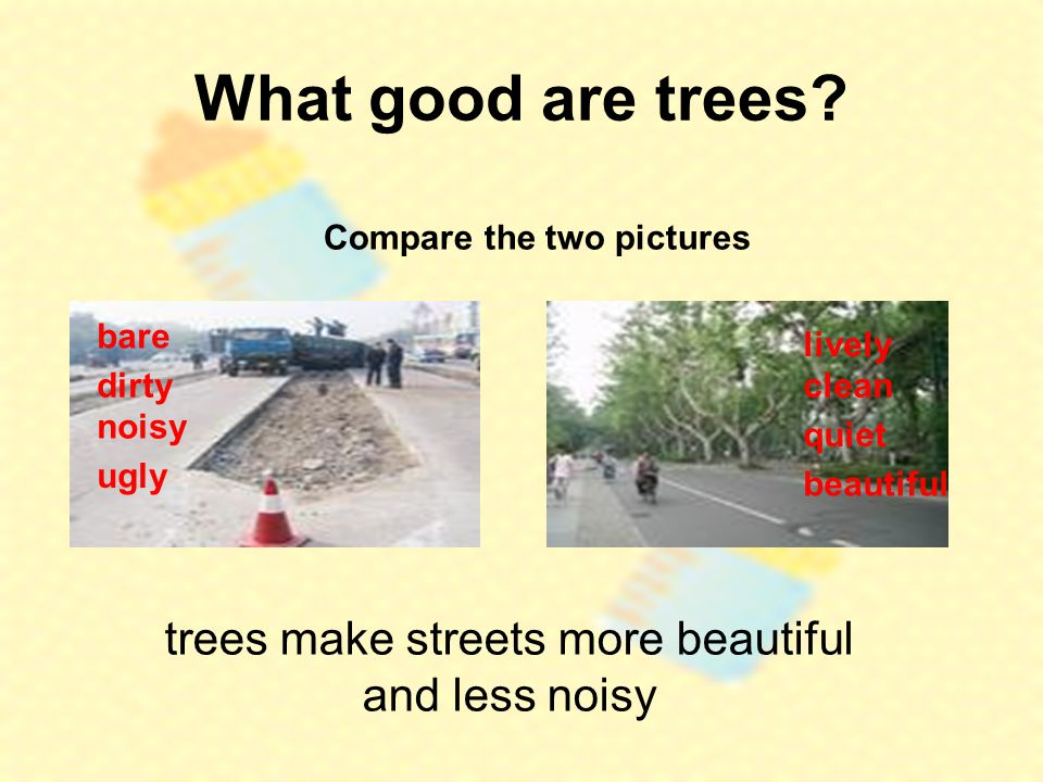 What good are trees? Compare the two pictures trees make streets more beautiful and less noisy bare lively dirty noisy ugly clean quiet beautiful
