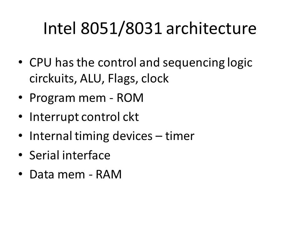 Intel 8051/8031 architecture CPU has the control and sequencing logic circkuits, ALU, Flags, clock Program mem - ROM Interrupt control ckt Internal ti