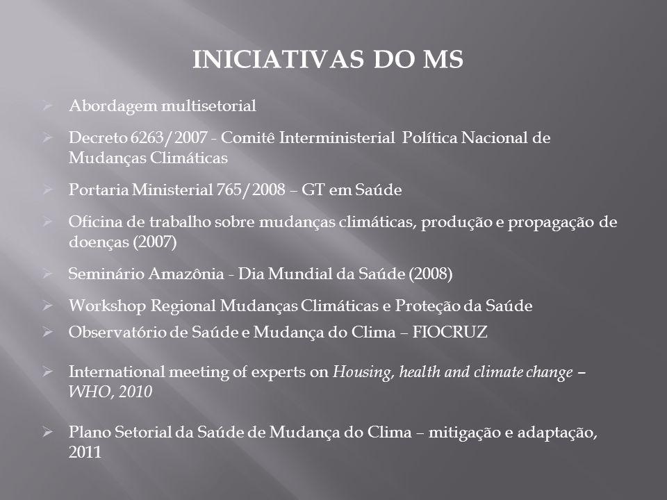 Abordagem multisetorial Decreto 6263/2007 - Comitê Interministerial Política Nacional de Mudanças Climáticas Portaria Ministerial 765/2008 – GT em Saú