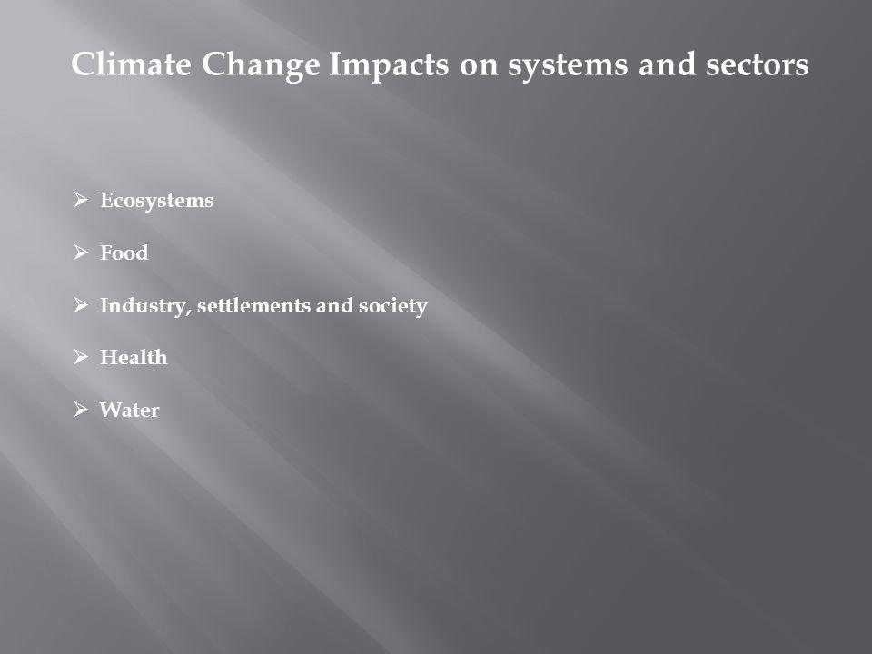 Climate Change Impacts on systems and sectors Ecosystems Food Industry, settlements and society Health Water
