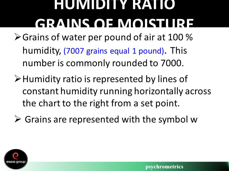 psychrometrics HUMIDITY RATIO GRAINS OF MOISTURE Grains of water per pound of air at 100 % humidity, (7007 grains equal 1 pound). This number is commo