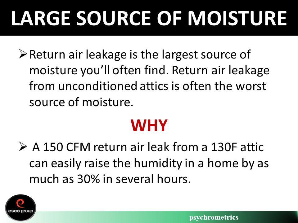 psychrometrics LARGE SOURCE OF MOISTURE Return air leakage is the largest source of moisture youll often find. Return air leakage from unconditioned a