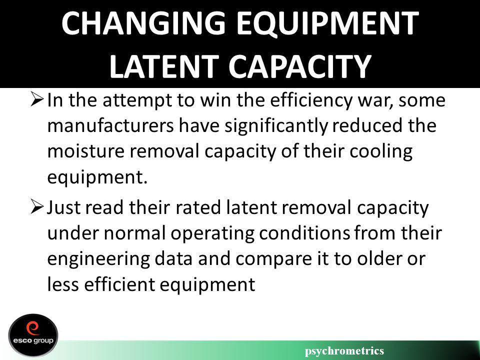 psychrometrics CHANGING EQUIPMENT LATENT CAPACITY In the attempt to win the efficiency war, some manufacturers have significantly reduced the moisture
