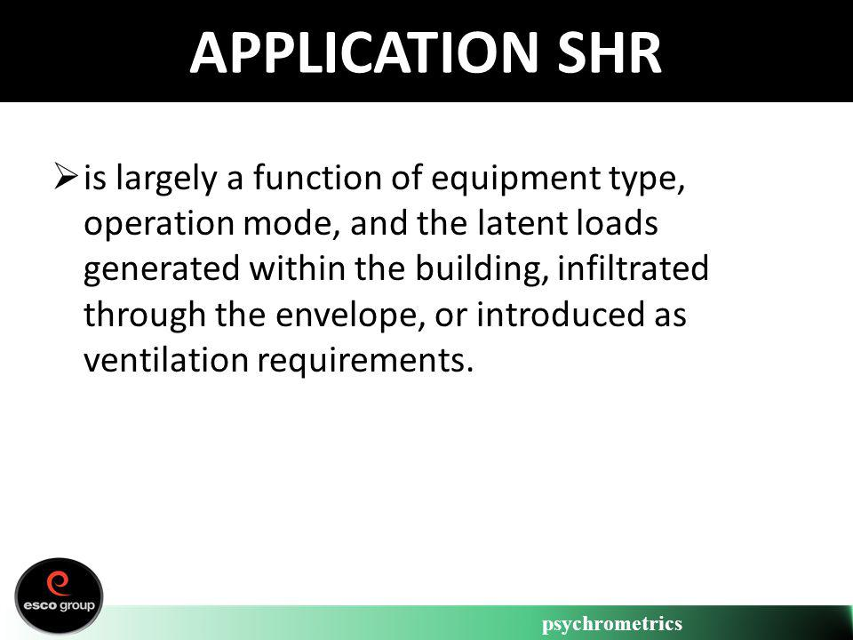 psychrometrics APPLICATION SHR is largely a function of equipment type, operation mode, and the latent loads generated within the building, infiltrate