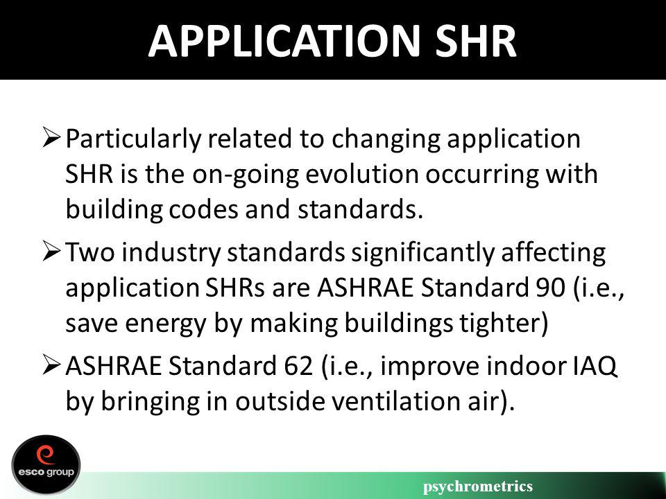 psychrometrics APPLICATION SHR Particularly related to changing application SHR is the on-going evolution occurring with building codes and standards.