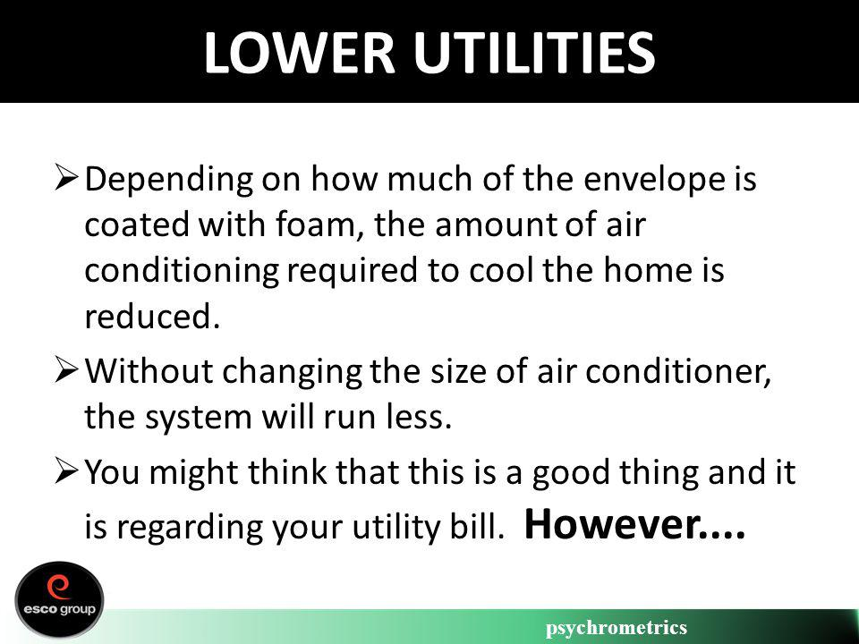 psychrometrics LOWER UTILITIES Depending on how much of the envelope is coated with foam, the amount of air conditioning required to cool the home is
