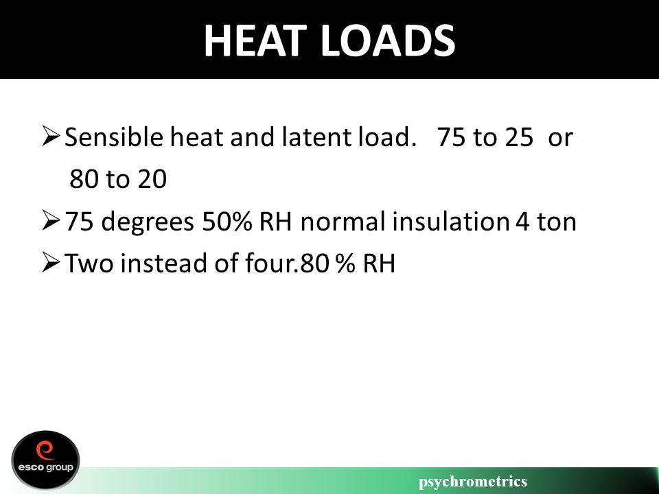 psychrometrics HEAT LOADS Sensible heat and latent load. 75 to 25 or 80 to 20 75 degrees 50% RH normal insulation 4 ton Two instead of four.80 % RH