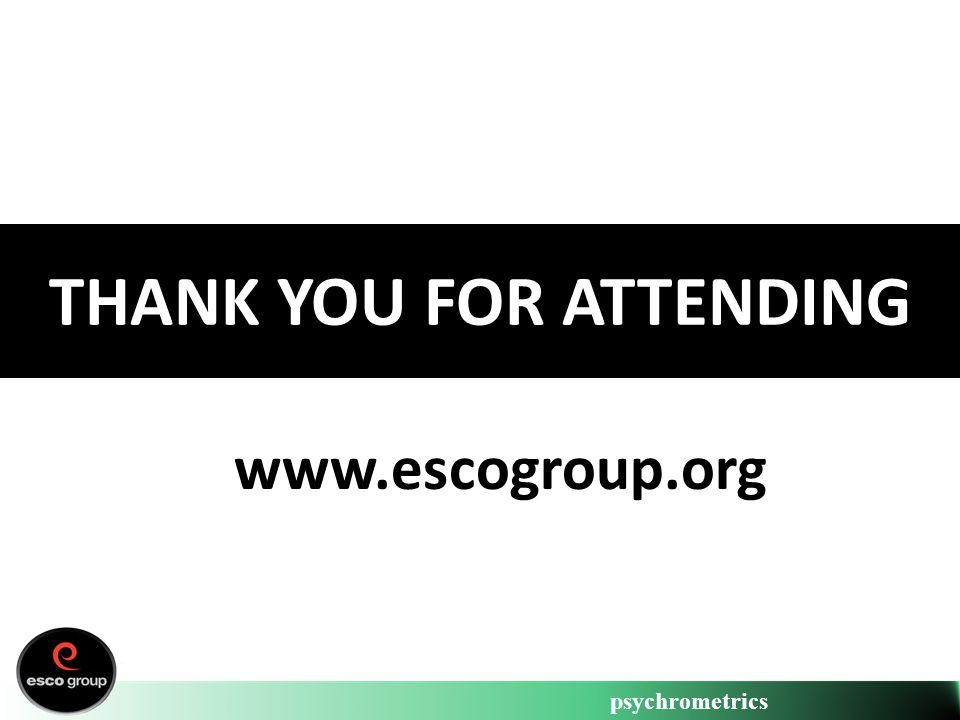 psychrometrics THANK YOU FOR ATTENDING www.escogroup.org
