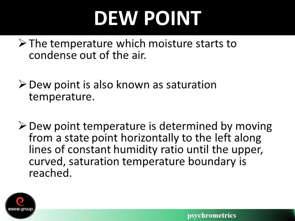 psychrometrics DEW POINT The temperature which moisture starts to condense out of the air. Dew point is also known as saturation temperature. Dew poin