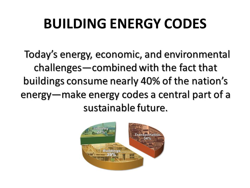 BUILDING ENERGY CODES Todays energy, economic, and environmental challengescombined with the fact that buildings consume nearly 40% of the nations energymake energy codes a central part of a sustainable future.