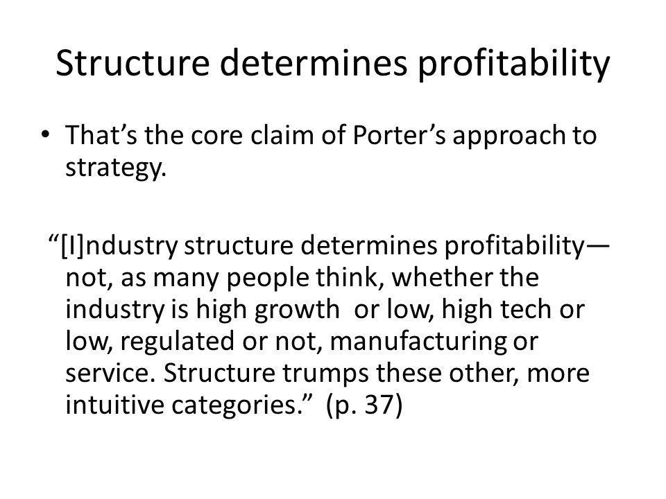 Structure determines profitability Thats the core claim of Porters approach to strategy.