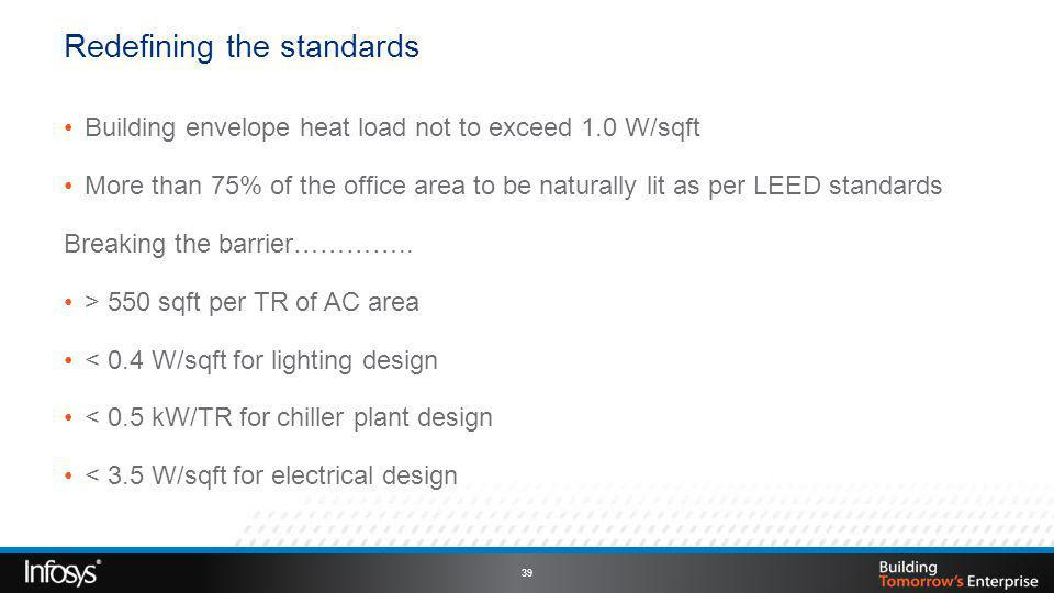Building envelope heat load not to exceed 1.0 W/sqft More than 75% of the office area to be naturally lit as per LEED standards Breaking the barrier…………..