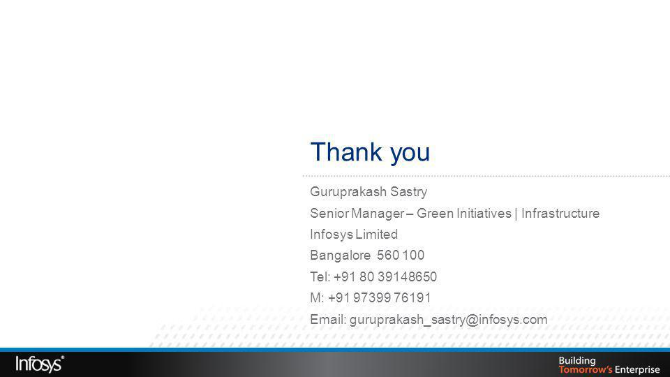 Thank you Guruprakash Sastry Senior Manager – Green Initiatives | Infrastructure Infosys Limited Bangalore 560 100 Tel: +91 80 39148650 M: +91 97399 76191 Email: guruprakash_sastry@infosys.com