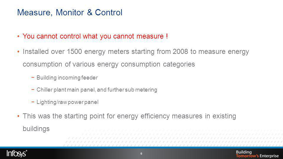 Measure, Monitor & Control You cannot control what you cannot measure .