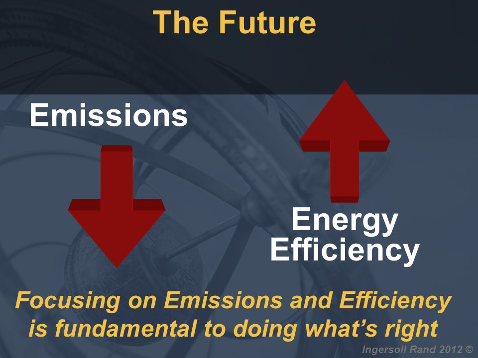 Ingersoll Rand 2012 © Emissions Energy Efficiency Focusing on Emissions and Efficiency is fundamental to doing whats right The Future