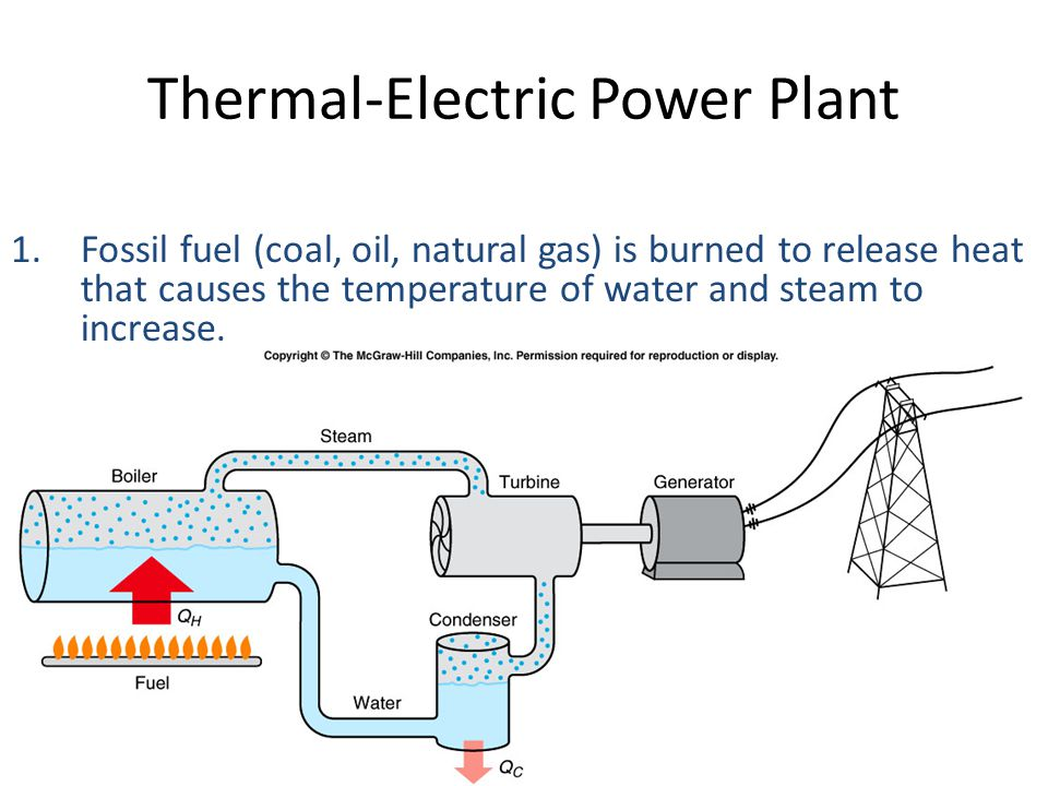 Thermal Power Plants and Energy Resources The most common way of producing electric power in this country is a thermal power plant that uses some form