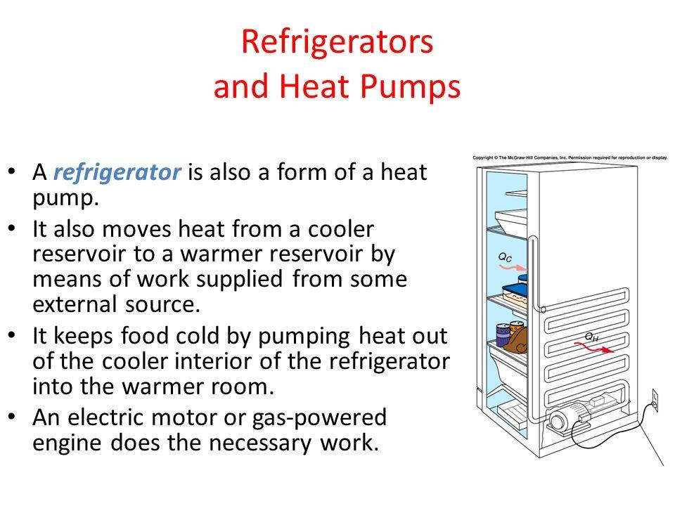 Refrigerators and Heat Pumps A refrigerator is also a form of a heat pump.