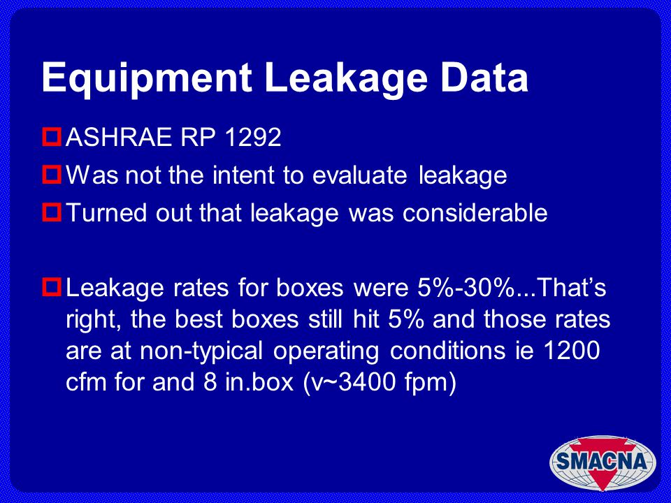 Equipment Leakage Data ASHRAE RP 1292 Was not the intent to evaluate leakage Turned out that leakage was considerable Leakage rates for boxes were 5%-