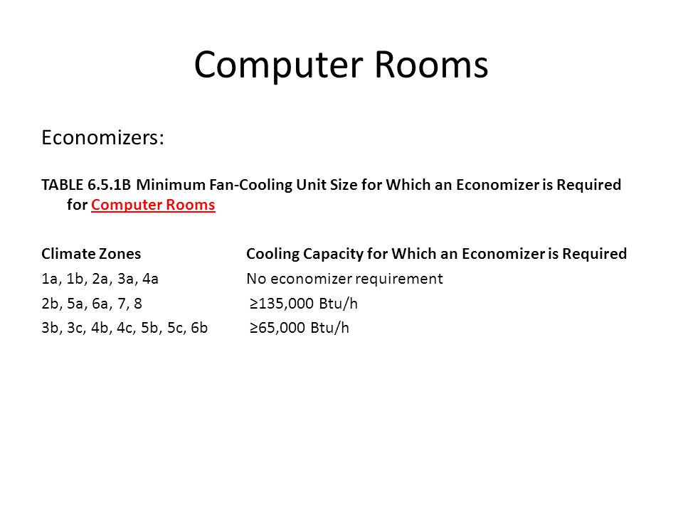 Computer Rooms Economizers: TABLE 6.5.1B Minimum Fan-Cooling Unit Size for Which an Economizer is Required for Computer Rooms Climate Zones Cooling Ca