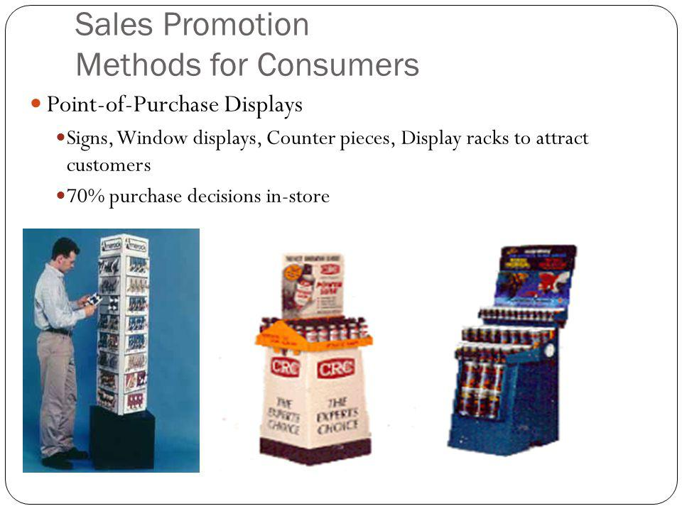 Sales Promotion Methods for Consumers Point-of-Purchase Displays Signs, Window displays, Counter pieces, Display racks to attract customers 70% purchase decisions in-store