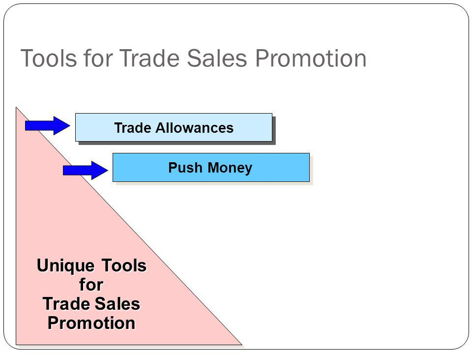 Tools for Trade Sales Promotion Trade Allowances Push Money Unique Tools for Trade Sales Promotion Unique Tools for Trade Sales Promotion