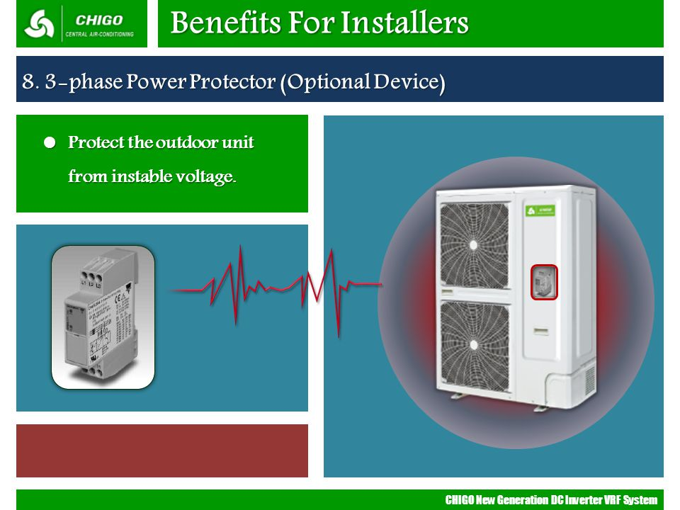 CHIGO New Generation DC Inverter VRF System Benefits For Installers 8. 3-phase Power Protector (Optional Device) Protect the outdoor unit from instabl