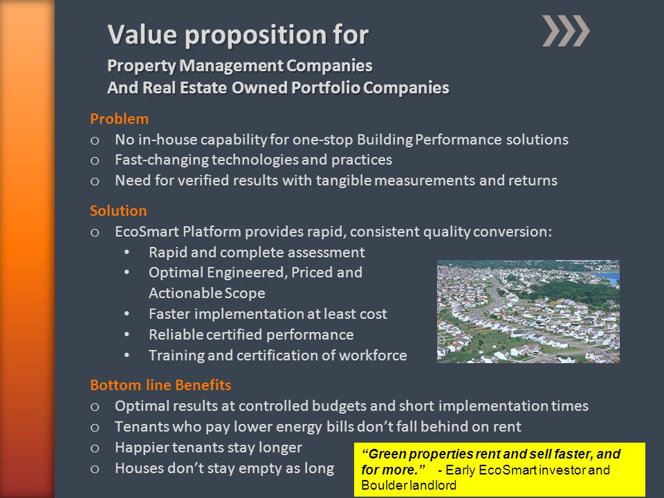 Value proposition for Problem o No in-house capability for one-stop Building Performance solutions o Fast-changing technologies and practices o Need f