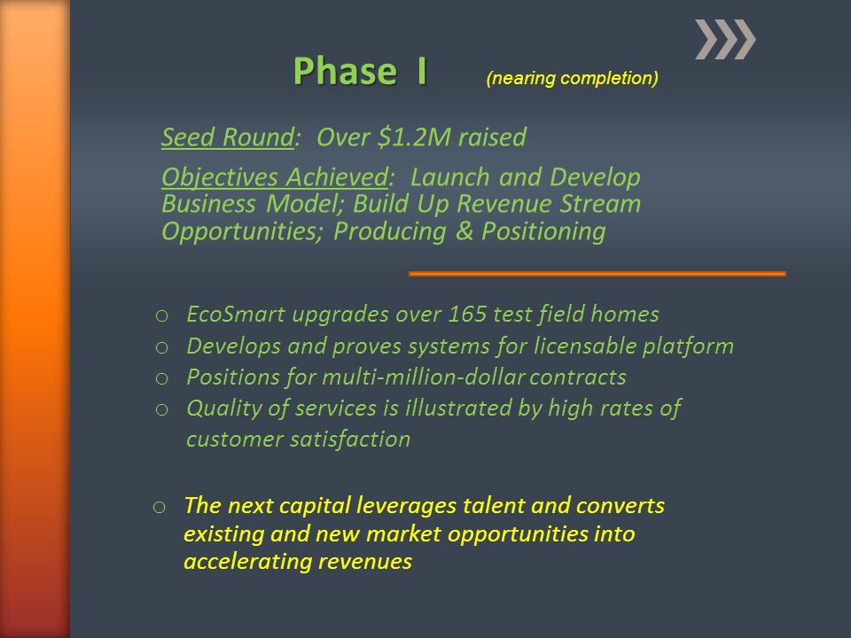 Phase I Phase I (nearing completion) o EcoSmart upgrades over 165 test field homes o Develops and proves systems for licensable platform o Positions f