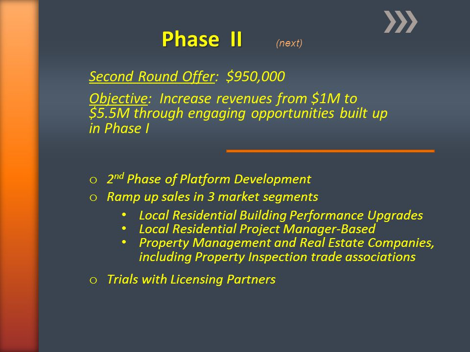 Phase II Phase II (next) Second Round Offer: $950,000 Objective: Increase revenues from $1M to $5.5M through engaging opportunities built up in Phase
