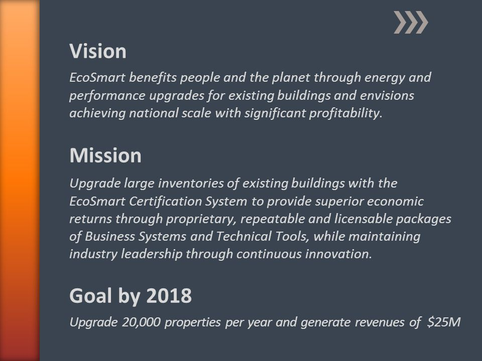 Vision EcoSmart benefits people and the planet through energy and performance upgrades for existing buildings and envisions achieving national scale with significant profitability.
