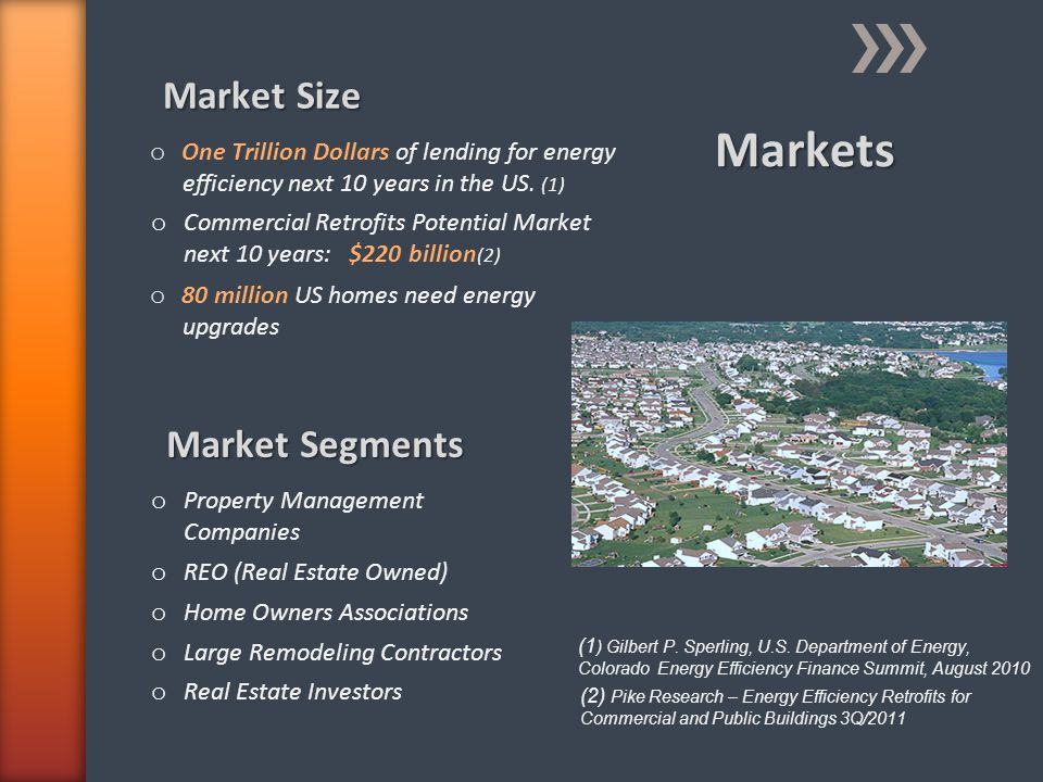 Market Size o One Trillion Dollars of lending for energy efficiency next 10 years in the US. (1) Market Segments o Property Management Companies o REO
