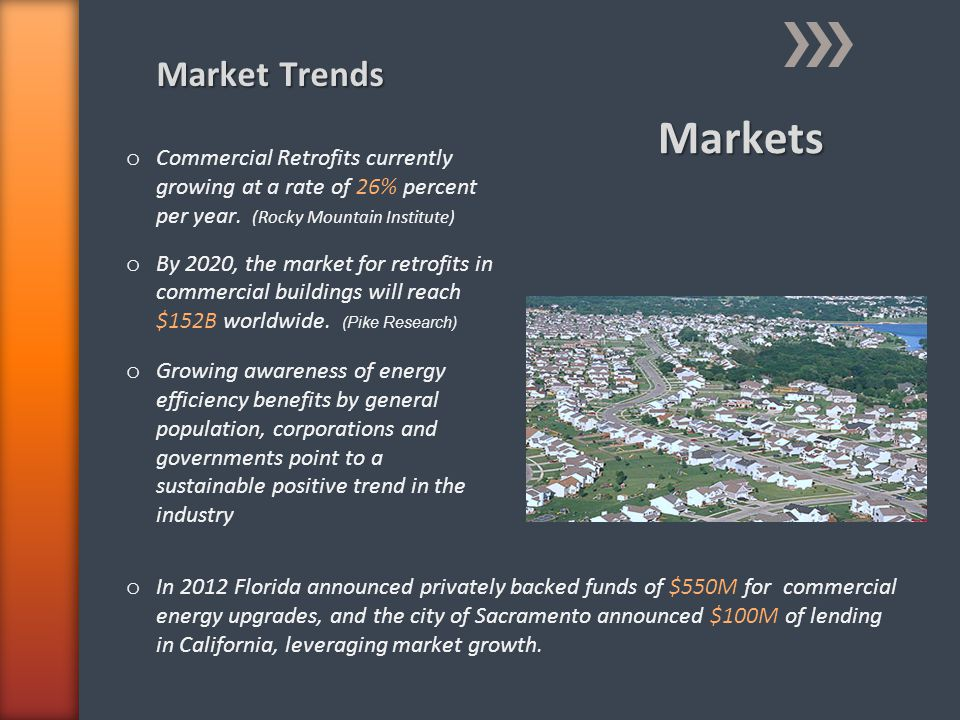 Markets Market Trends o Commercial Retrofits currently growing at a rate of 26% percent per year. (Rocky Mountain Institute) o By 2020, the market for