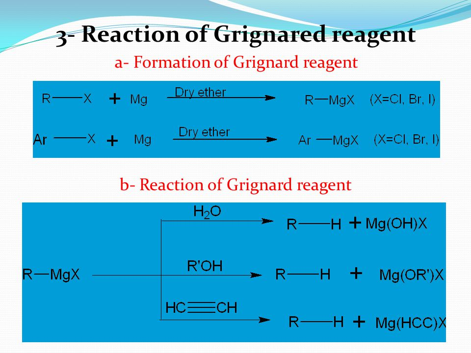 3- Reaction of Grignared reagent a- Formation of Grignard reagent b- Reaction of Grignard reagent