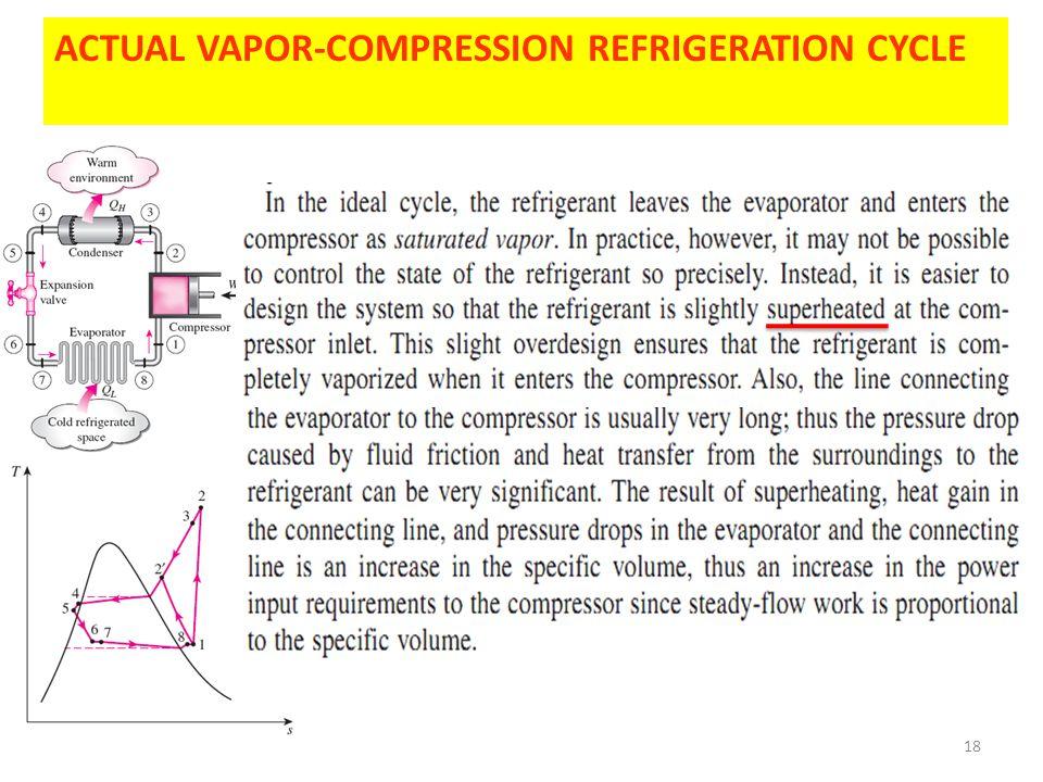 18 ACTUAL VAPOR-COMPRESSION REFRIGERATION CYCLE