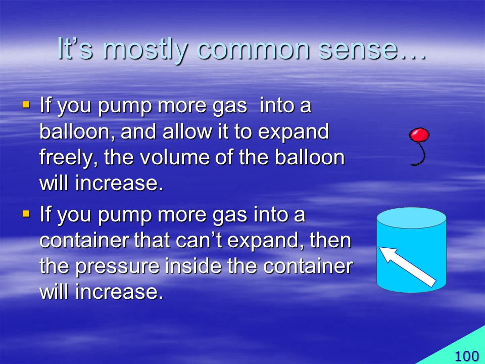 Its mostly common sense… If you pump more gas into a balloon, and allow it to expand freely, the volume of the balloon will increase.