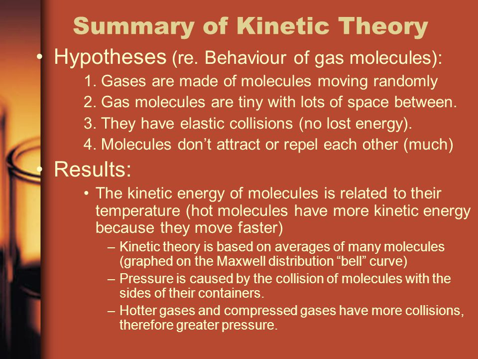 Summary of Kinetic Theory Hypotheses (re.Behaviour of gas molecules): 1.