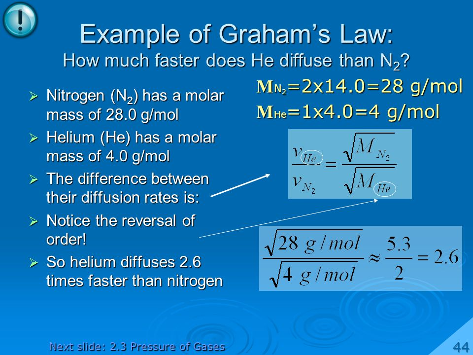Example of Grahams Law: How much faster does He diffuse than N 2 .