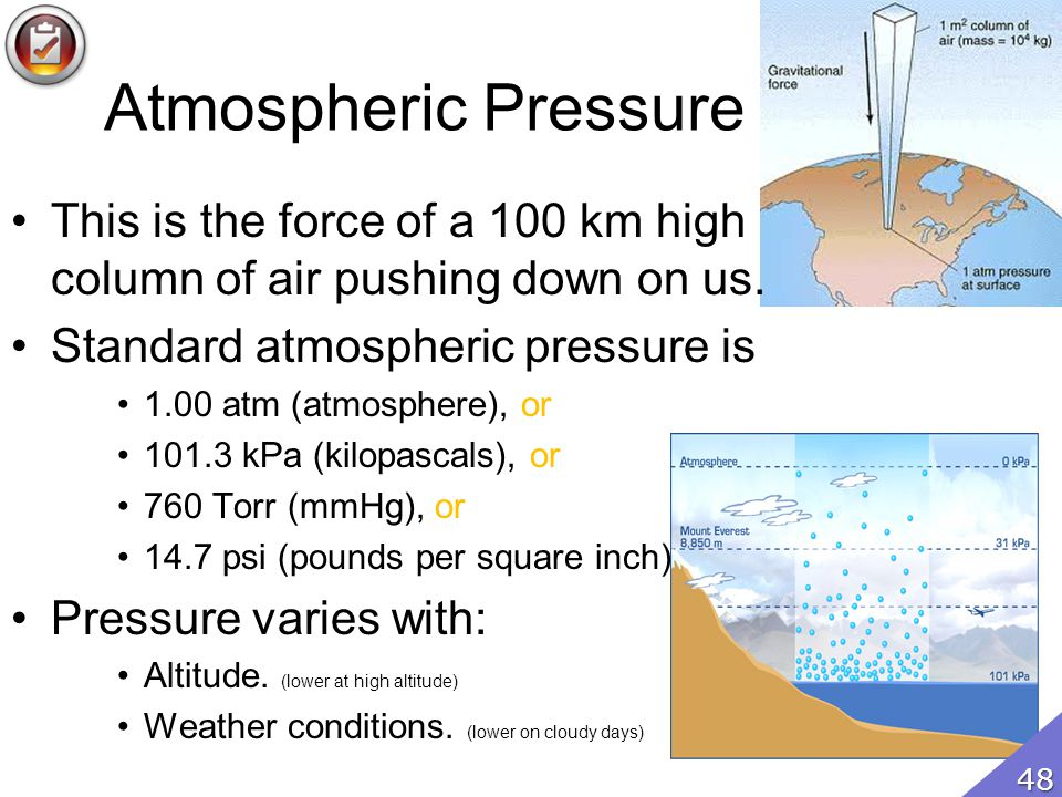 Atmospheric Pressure This is the force of a 100 km high column of air pushing down on us.